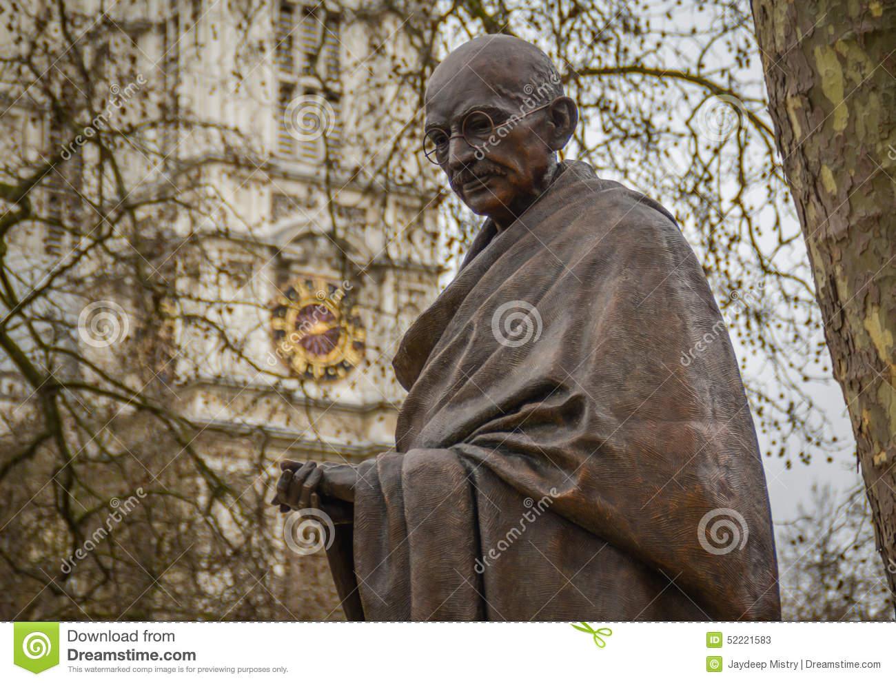 Mahatma Gandhi Statue, Parliament Square Editorial Stock Photo.