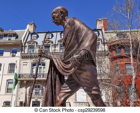 Stock Photographs of Gandhi Statue Indian Embassy Embassy Row.