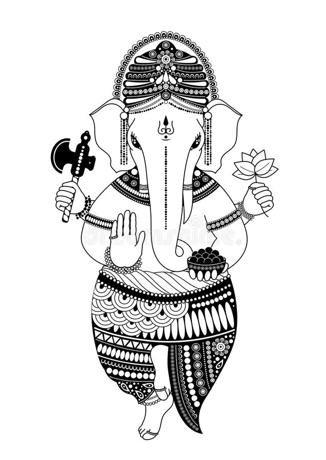 Ganesh Black White Stock Illustrations.
