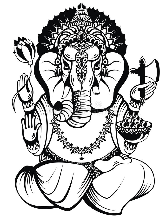 Ganesh Black White Stock Illustrations.
