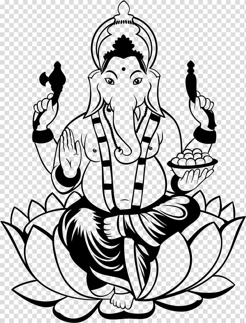 Ganesha Drawing , Lakshmi transparent background PNG clipart.