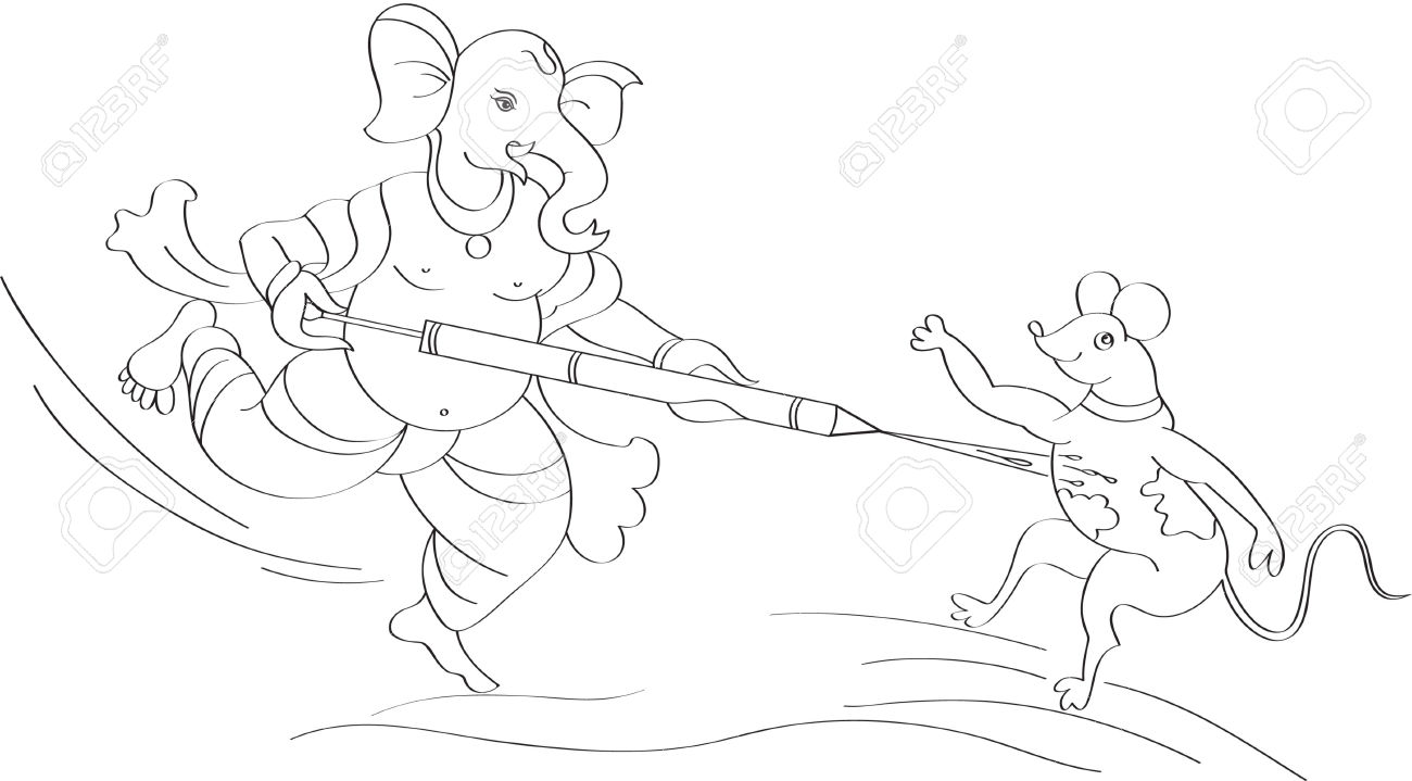 Ganesha Playing Holi With Mouse Royalty Free Cliparts, Vectors.