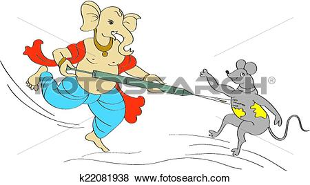 Clip Art of Ganesha Playing Holi With Mouse k22081938.