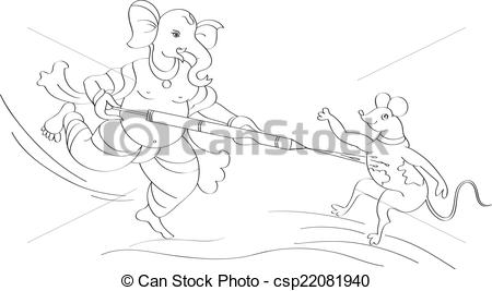 EPS Vector of Ganesha Playing Holi With Mouse Vector Art.