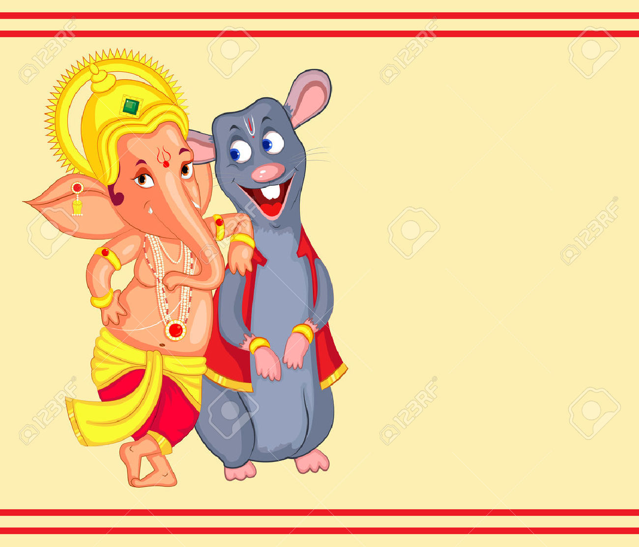Lord Ganesha In Vector For Happy Ganesh Chaturthi Royalty Free.