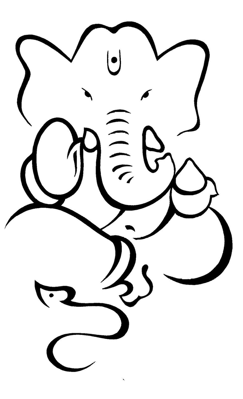Outline Goddess Ganesh.