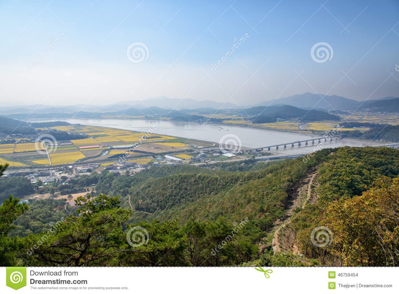 View Of Ganghwa Island And Gimpo Plain Stock Photo.