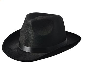 Black Pinched Fedora Gangster Hat.