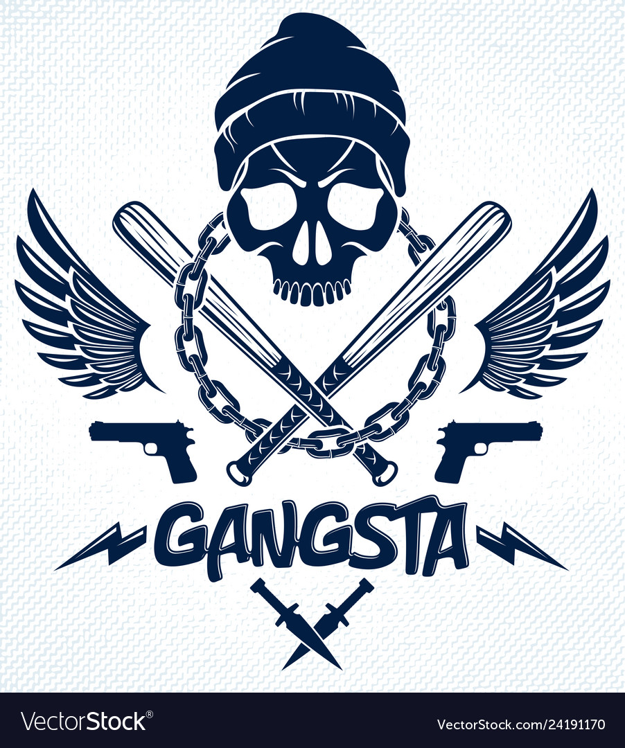 Brutal gangster emblem or logo with aggressive.