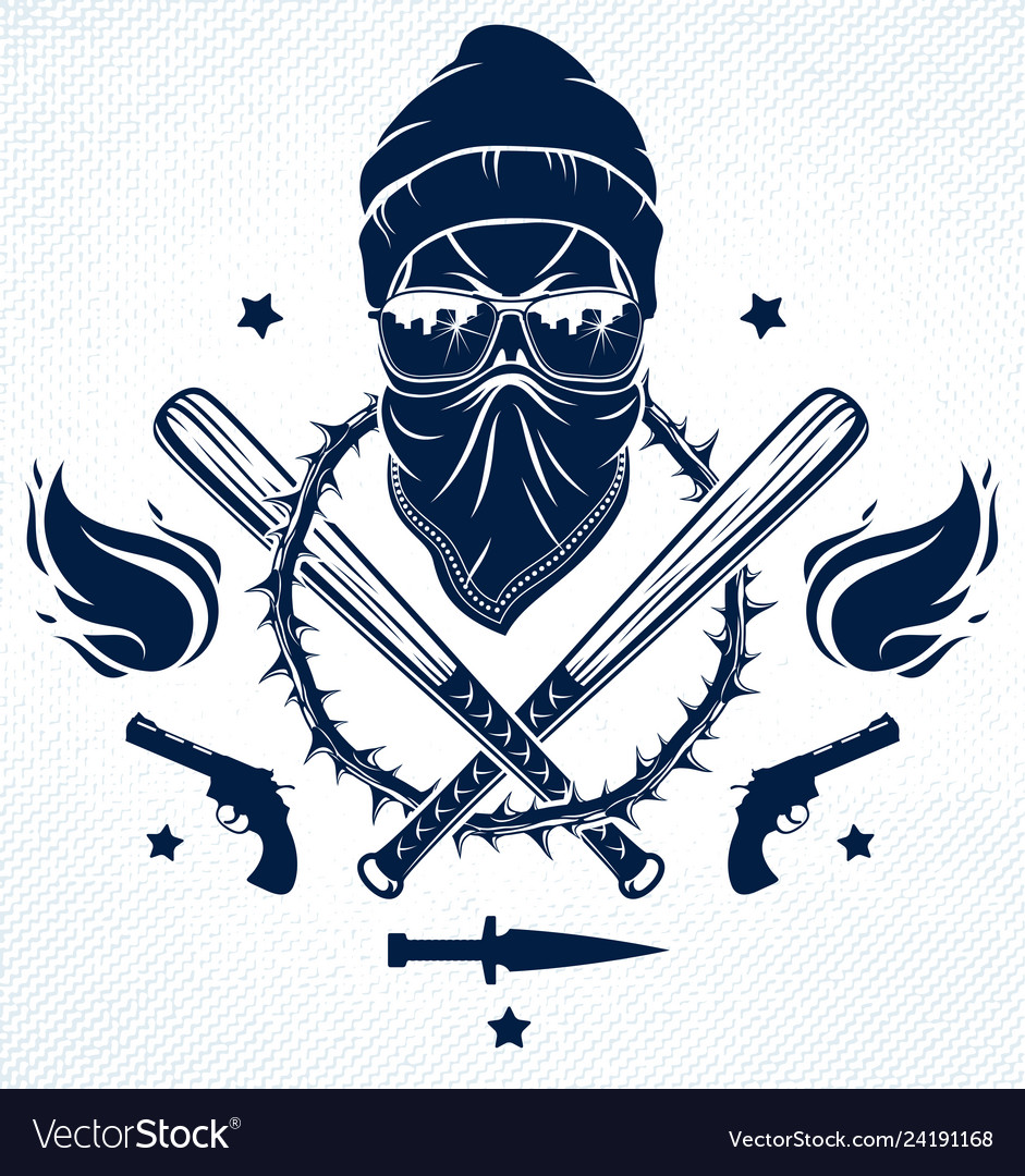 Gangster emblem logo or tattoo with aggressive.