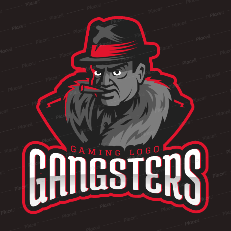 Gaming Logo Template Featuring a Mafia Gangster Character 1750j.