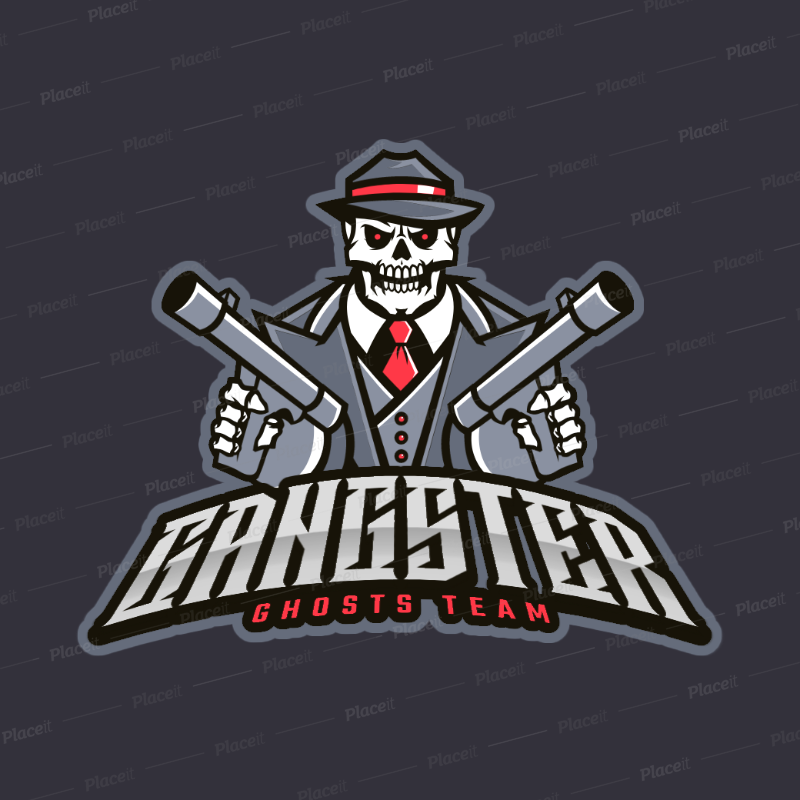 Gaming Logo Maker with a Gangster Skull Character 383h.