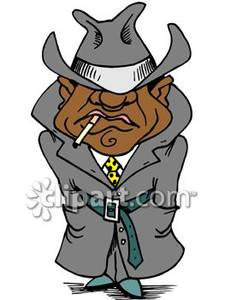 School Gangster In a Trench Coat Royalty Free Clipart Picture.