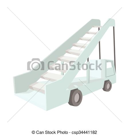 Vector of Gangway of the plane cartoon icon on a white background.