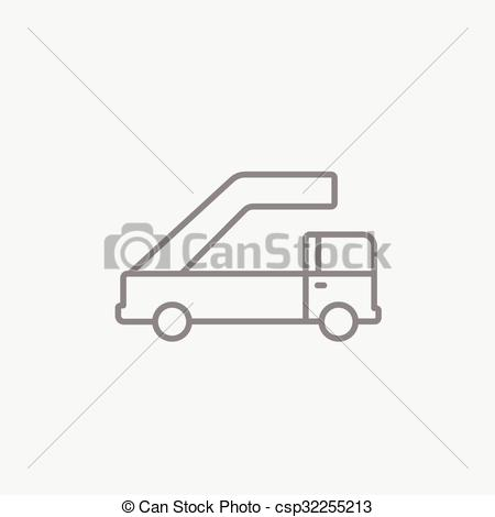 Vector Clip Art of Gangway of plane line icon..