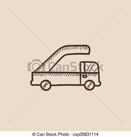 Vector Clip Art of Gangway of plane sketch icon..