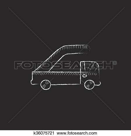 Clipart of Gangway of plane. Drawn in chalk icon. k36075721.