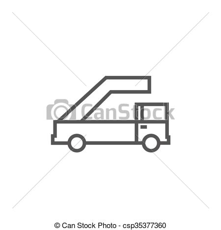 Clip Art Vector of Gangway of plane line icon..