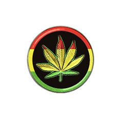 Rasta Cannabis (Ganja, Herb) Leaf : Golf Ball Marker.