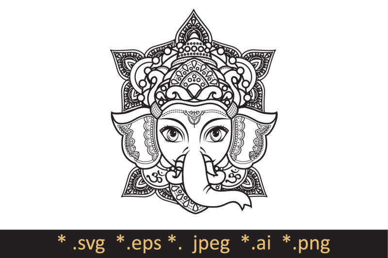 Free Lord Ganesha. Template for coloring book. Cutting file.
