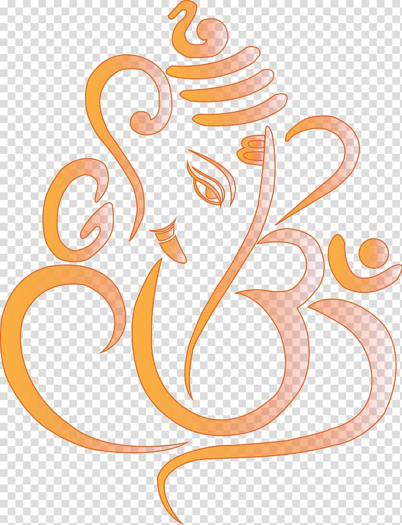 Orange and gray Lord Ganesha illustration, Ganesha Symbol.