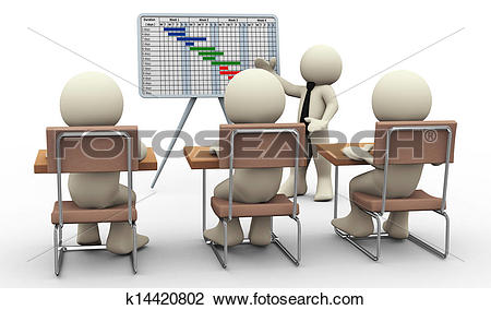 Clip Art of 3d man gantt chart presentation k14420802.