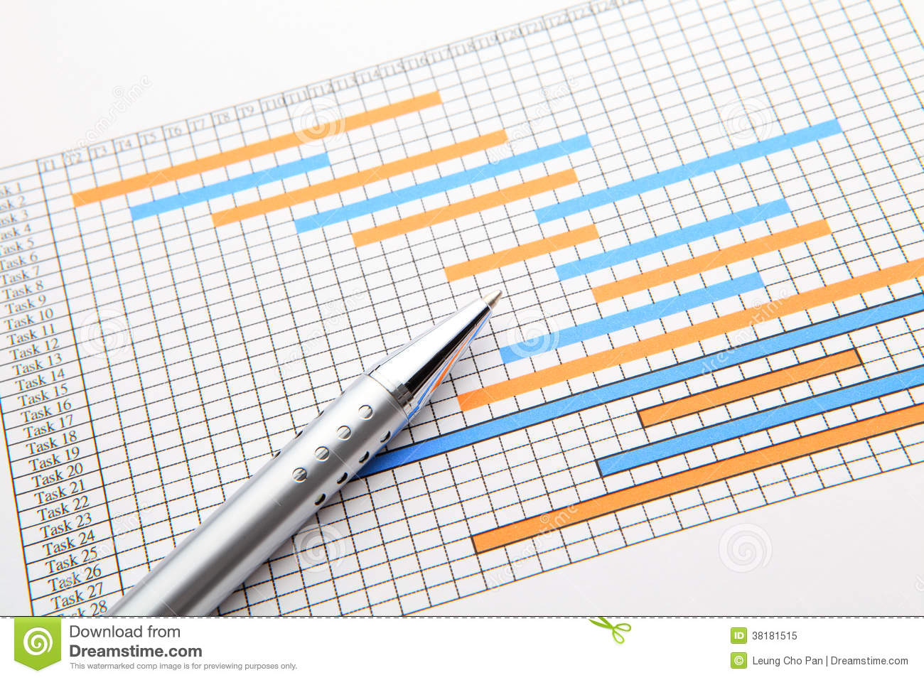Gantt Chart And Pen Royalty Free Stock Photo.