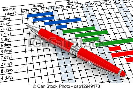 Stock Illustrations of 3d pen and gantt chart.