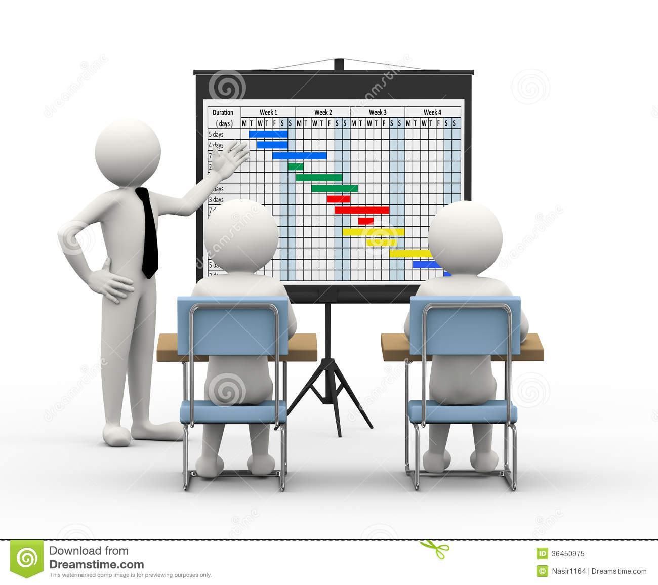 3d Gantt Chart Progress Stock Image.