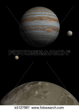Stock Illustration of Jupiter rising over Ganymede k5127987.