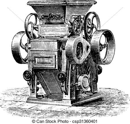 Vector Clipart of Cylinder splitters shredders, Ganz system.