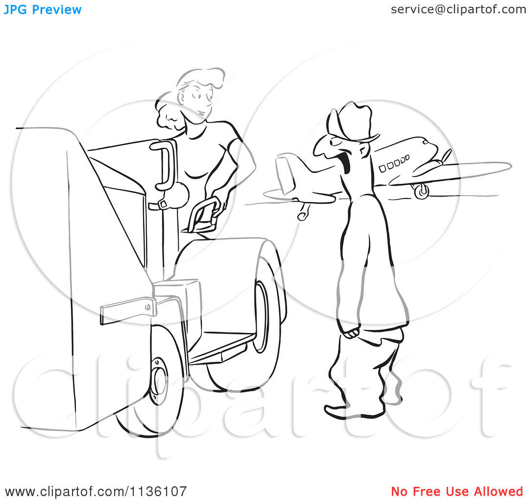 Clipart Of A Retro Vintage Man Gaping At A Worker Woman Black And.