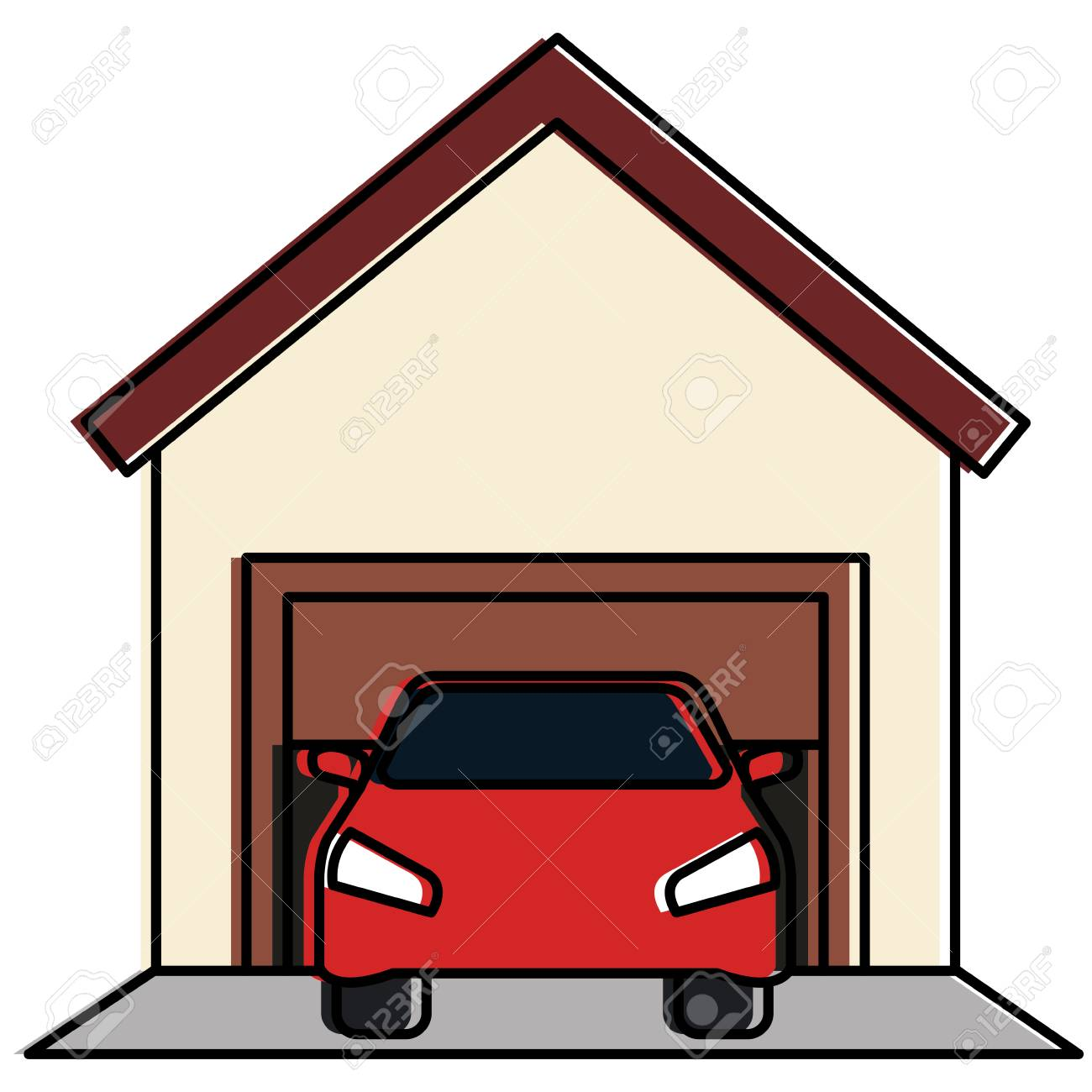 Garage building with car vector illustration design.