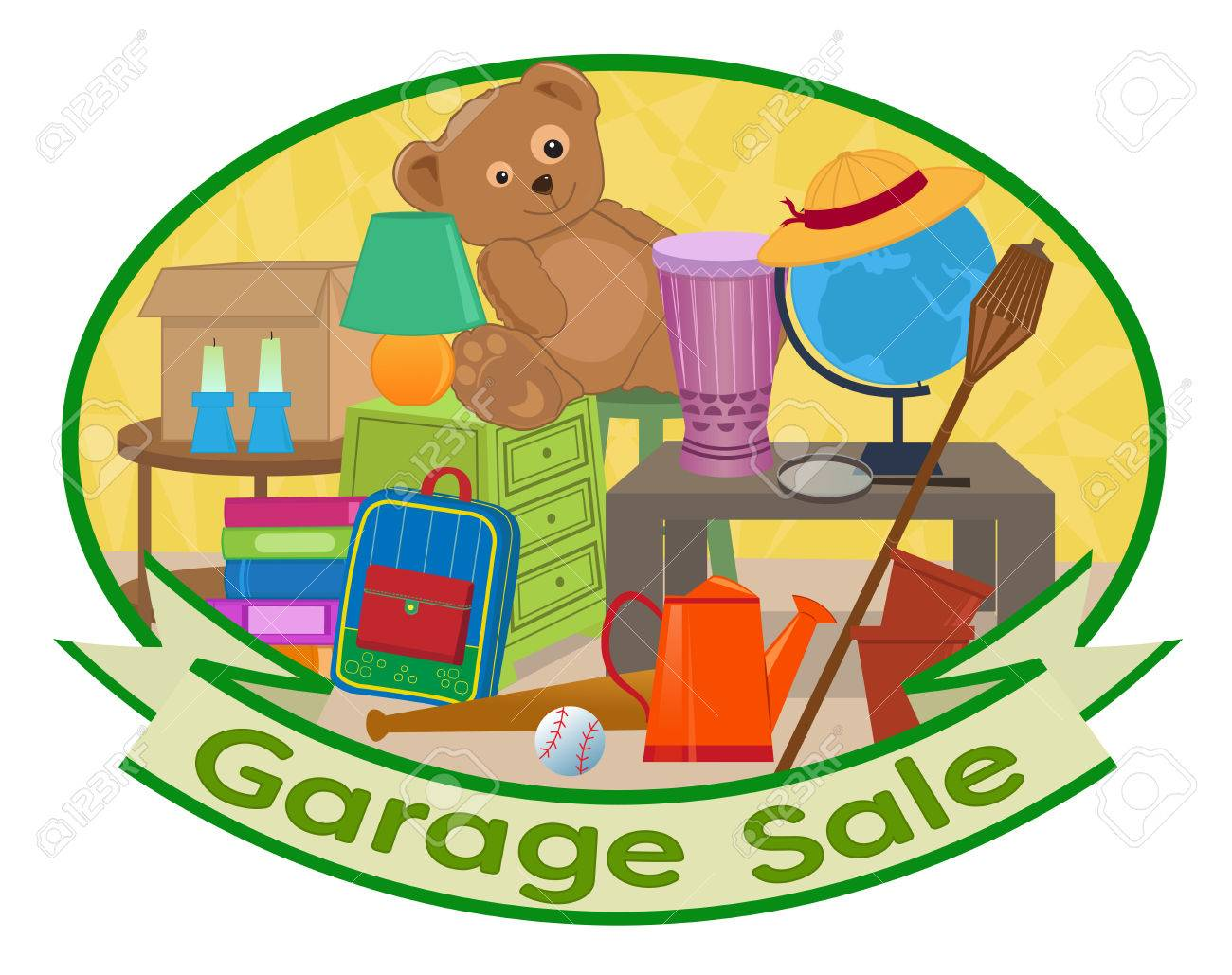 Cute clip art of different household items with garage sale text...