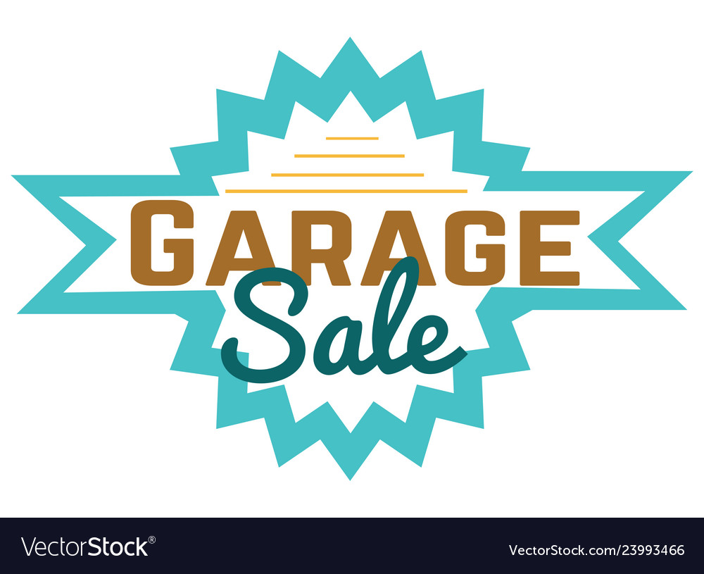 Garage sale sign advertising deals logotypes.