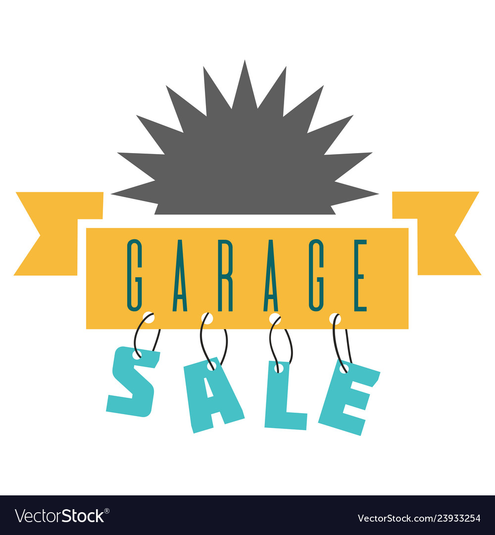 Garage sale sign advertising deals logotypes vector image.