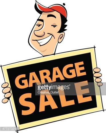Man Garage Sale Sign premium clipart.