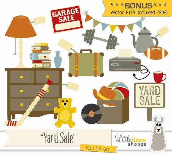 Yard Sale Clipart, Vector Garage Sale Clip Art, Rummage Sale Clip.