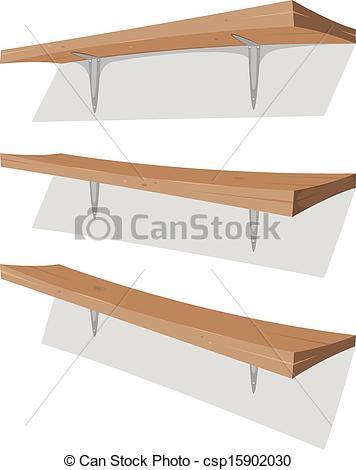 Vectors of Wood Shelf On The Wall.