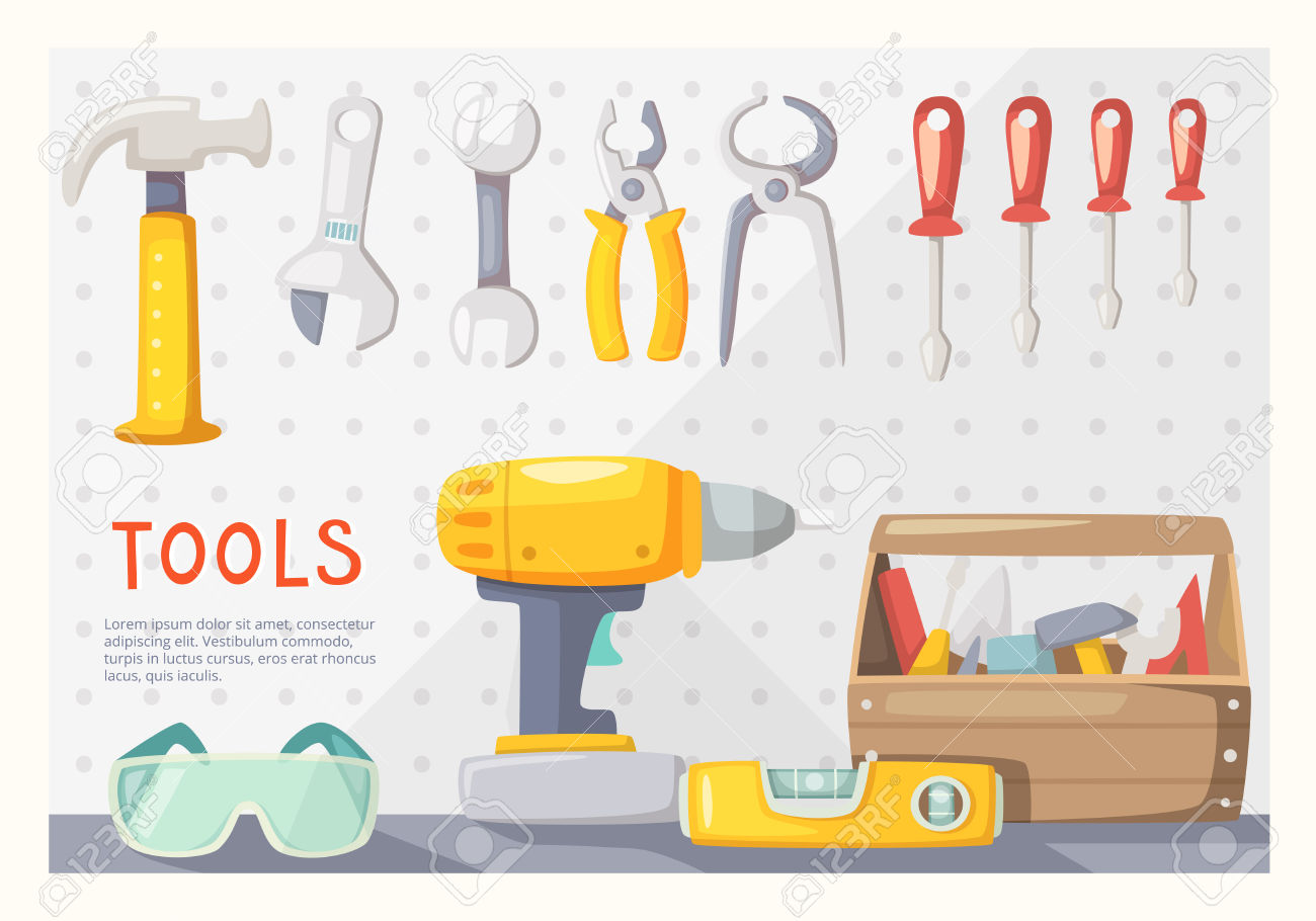 Colorful Poster With Carpenter's Tools On Garage Wall Royalty Free.