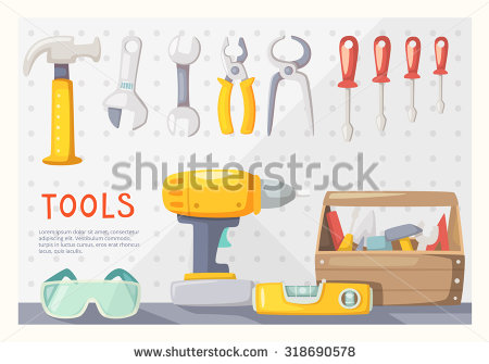 Colorful Poster With Carpenter'S Tools On Garage Wall Stock Vector.