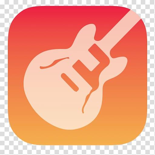 Guitar logo app, thumb hand finger orange, Garageband.