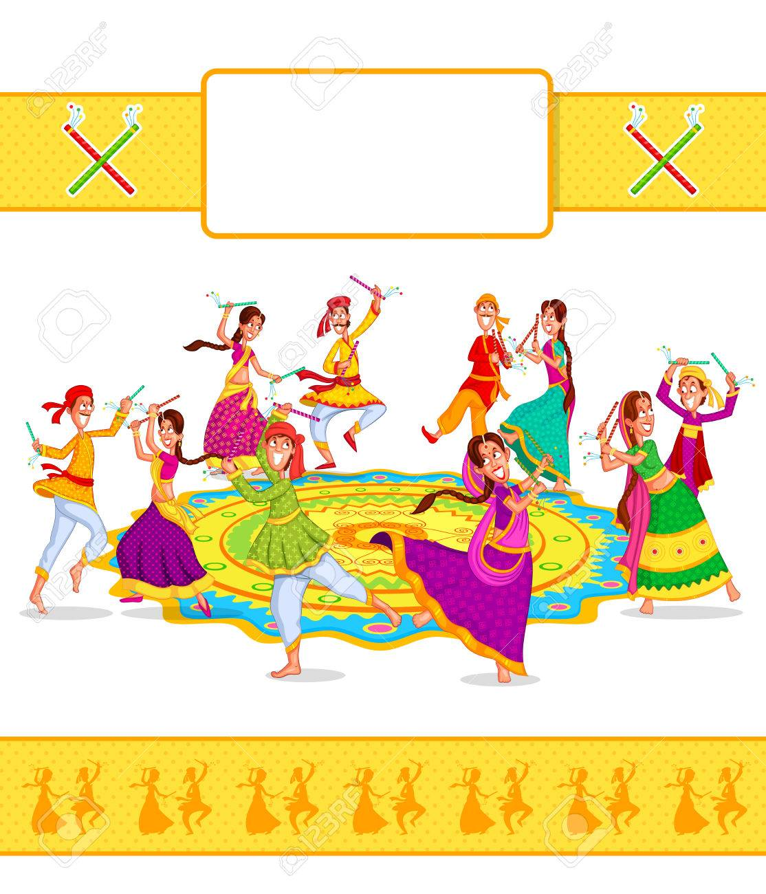 Couple performing dandiya and dancing garba in vector.