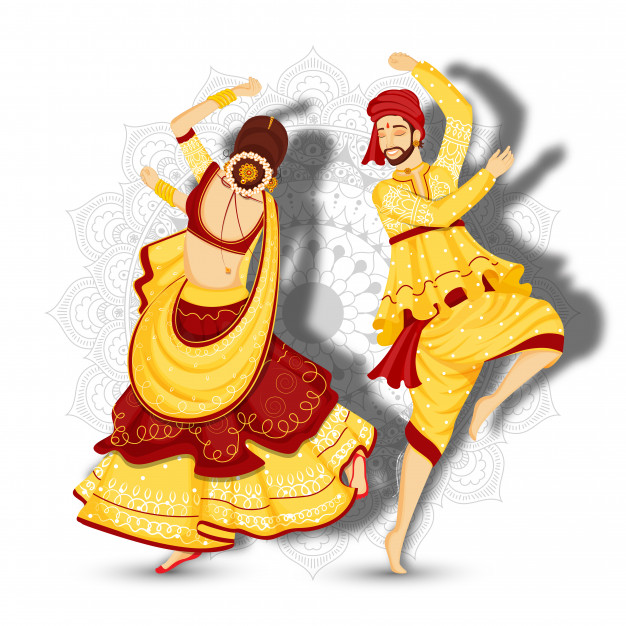 Beautiful couple character dancing garba pose on white.
