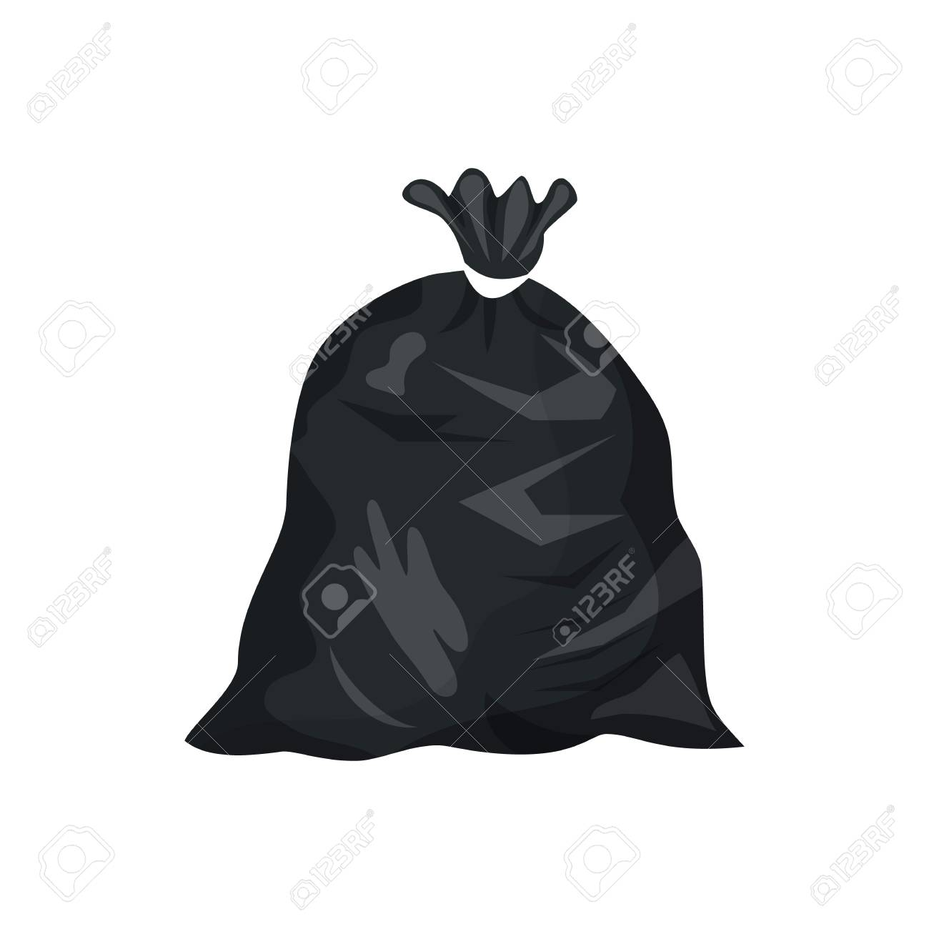 Plastic garbage bag icon. Container for trash isolated on white.