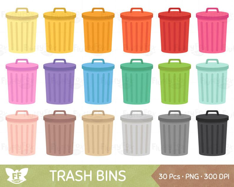 Trash Bin Clipart, Garbage Can Clip Art, Waste Bins Cliparts, Cleaning  Recycle Environment Clean Icon Graphic PNG Download, Commercial Use.