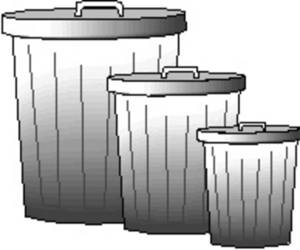 Free Picture of Three Metal Garbage Cans.