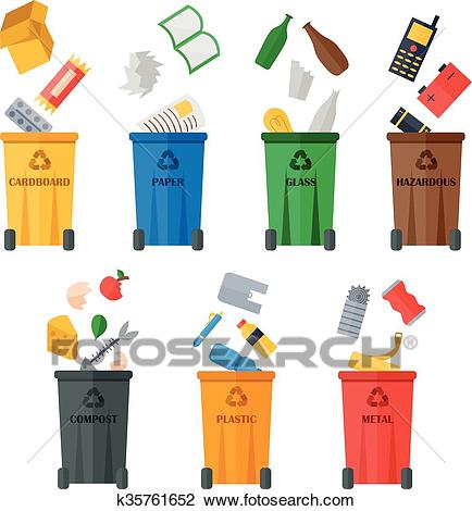 Colored garbage cans with waste types. Clipart.