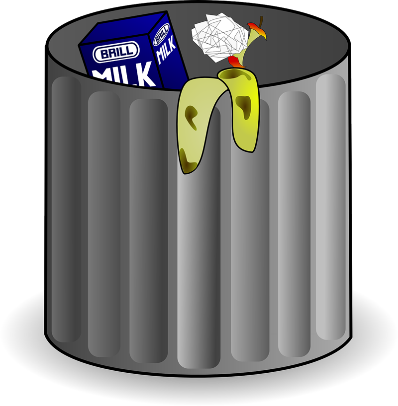 Free Trash Can with Garbage Clip Art.