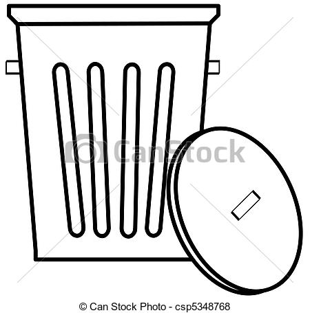 Stock Illustration of outline of garbage can or bin on white.